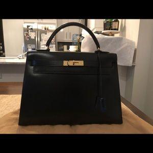 Vintage Hermès Kelly 32 Black box sellier with ghw 939b276266a1f